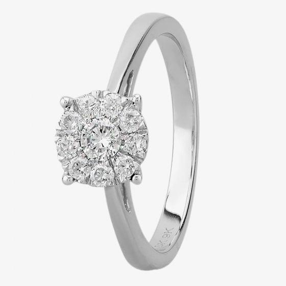 T H Baker 9ct White Gold 0.33ct Diamond Cluster Ring