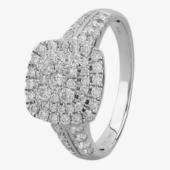 T H Baker 18ct White Gold 1.00ct Diamond Shouldered Cushion Cluster Ring