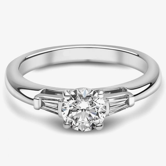 T H Baker Platinum 0.40ct Diamond Four Claw Solitaire Ring