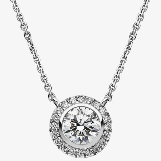 T H Baker 18ct White Gold 0.98ct Diamond Round Cluster Necklace