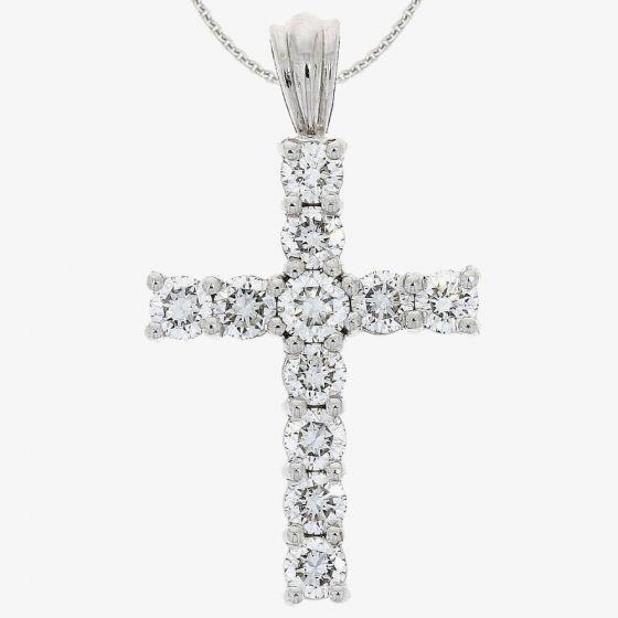 T H Baker 18ct White Gold 1.41ct Diamond Cross Pendant