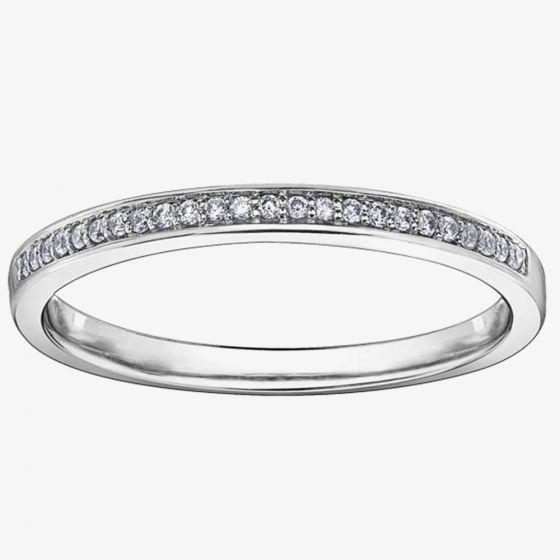 T H Baker 9ct White Gold 0.08ct Diamond Half-Eternity Wedding Ring