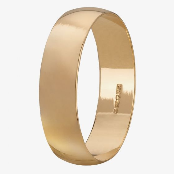 T H Baker 9ct Yellow Gold Lightweight 5mm D-shape Ladies Wedding Ring
