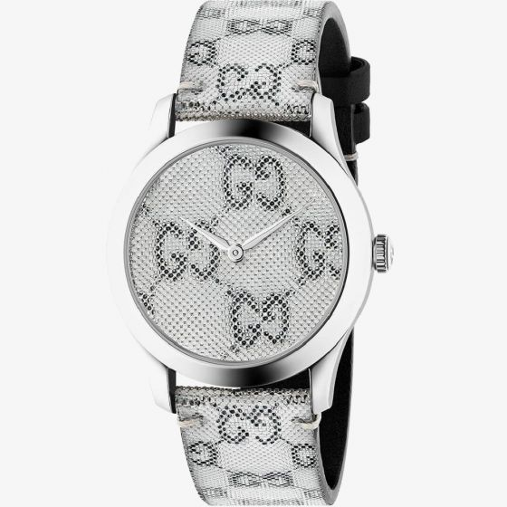 Gucci Ladies G-Timeless GG Grey Dial Leather Strap Watch