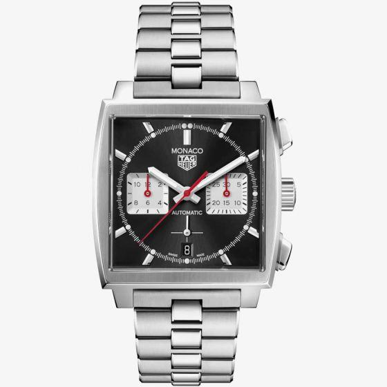 TAG Heuer Mens Monaco Automatic Chronograph 39mm Black Bracelet Watch