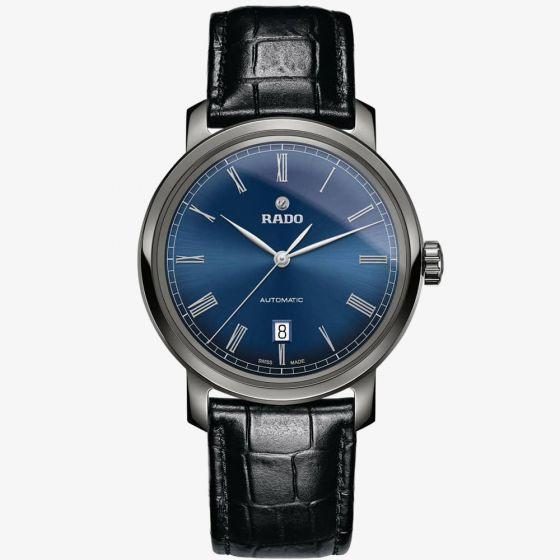 Rado Mens DiaMaster Automatic Black Leather Strap Watch