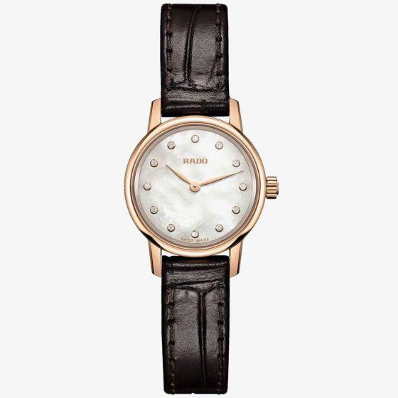 Rado Ladies Coupole Classic Diamonds Quartz Black Leather Strap Watch