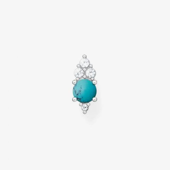 THOMAS SABO Sterling Silver Turquoise White Cubic Zirconia Single Stud Earring