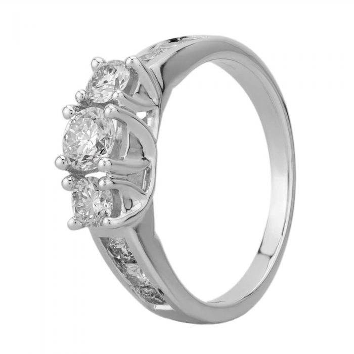 T H Baker 18ct White Gold 1.00ct Diamond Shouldered Trilogy Ring