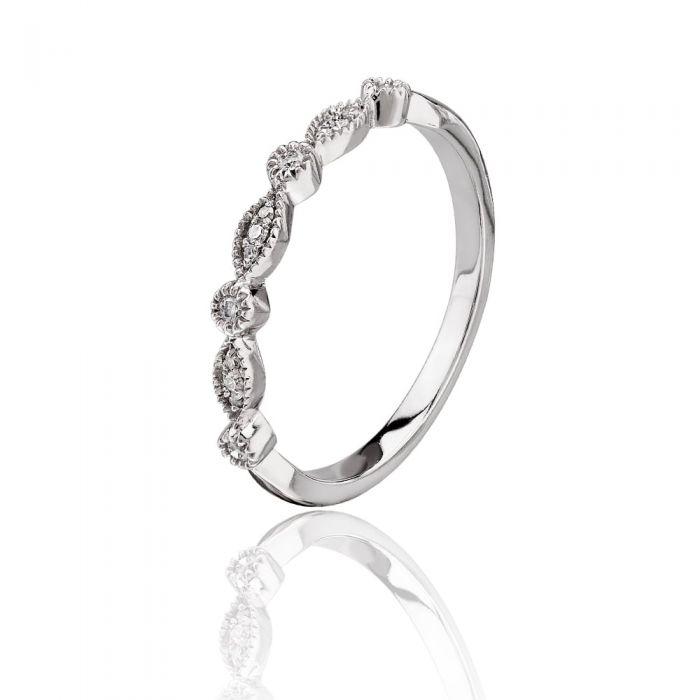 T H Baker 9ct White Gold 0.07ct Diamond Fancy Half Eternity Ring