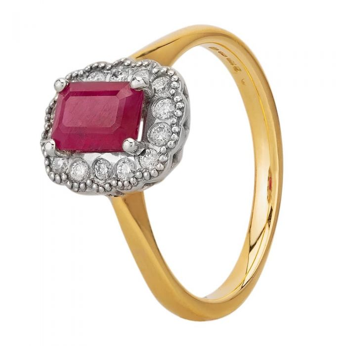 18ct Yellow Gold Emerald Cut Ruby And Diamond Cluster Ring 9555