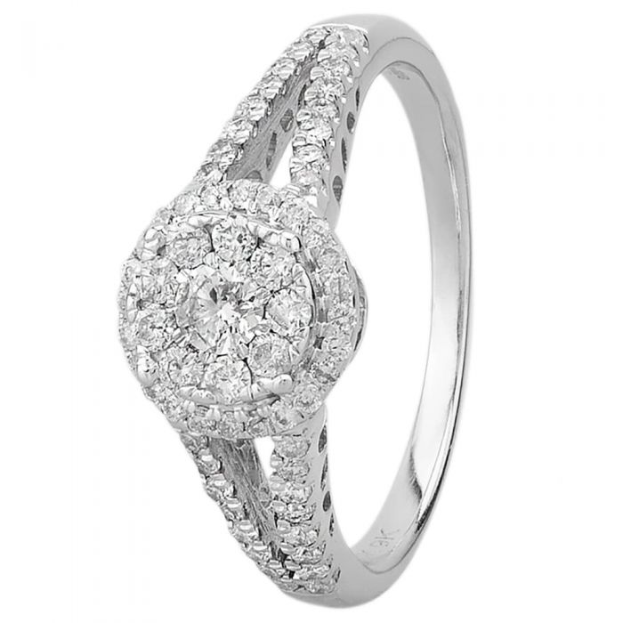 T H Baker 9ct White Gold 0.50ct Diamond Halo Cluster Ring