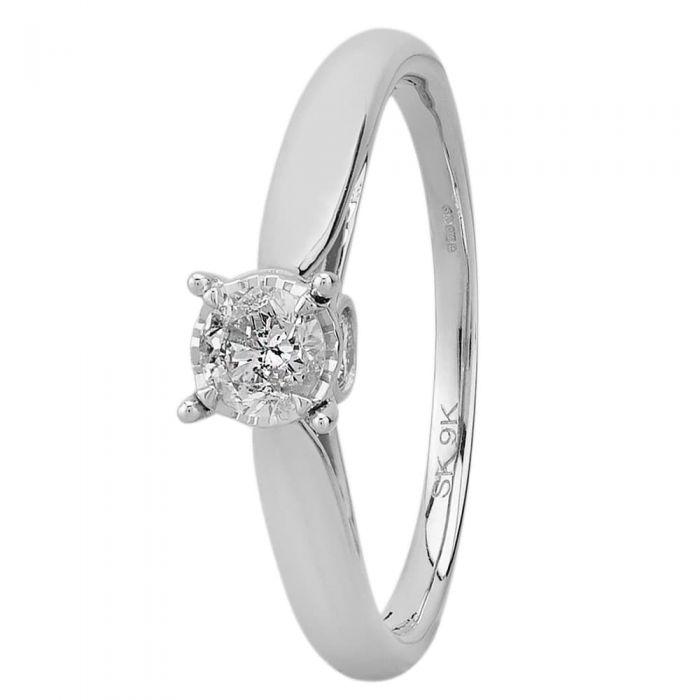 9ct White Gold 0.50ct Diamond Bridge Accent Solitaire Ring