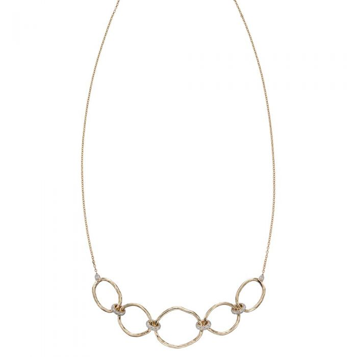 T H Baker 9ct Yellow Gold and Diamond Hammered Open Circle Necklace