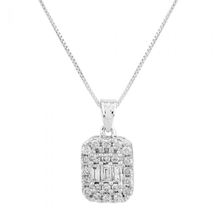 T H Baker 9ct White Gold 0.25ct Baguette Brilliant Cut Diamond Pendant