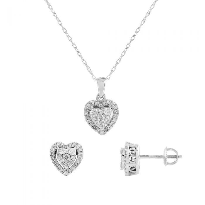 T H Baker 9ct White Gold Diamond Heart Pendant and Earrings Set