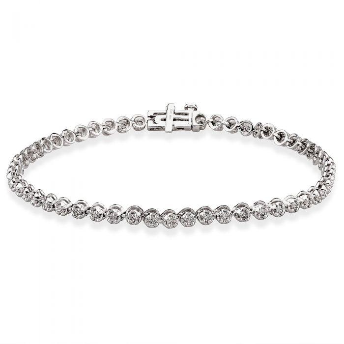 T H Baker 9ct White Gold 1.00ct Diamond Tennis Bracelet
