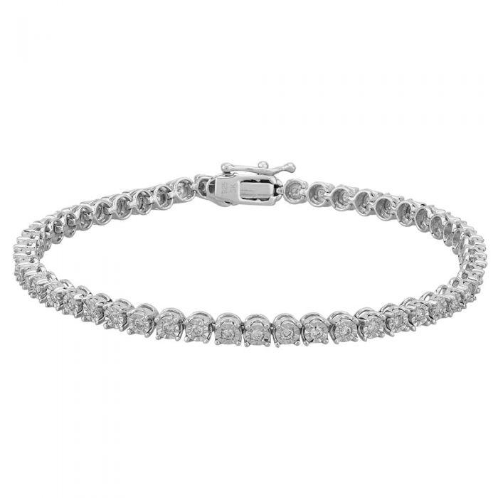 T H Baker Sterling Silver 1.00ct Diamond Tennis Bracelet