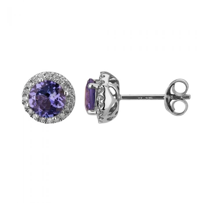 T H Baker 9ct White Gold Round Tanzanite and Diamond Halo Stud Earrings