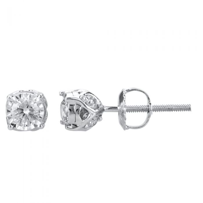 T H Baker 9ct White Gold 0.50ct Four Claw Diamond Stud Earrings