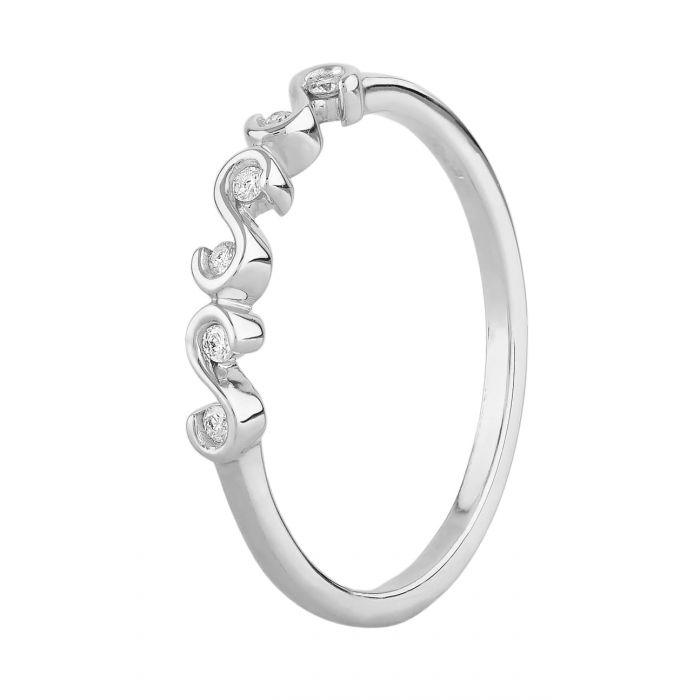 T H Baker 9ct White Gold 0.05ct Diamond S-Link Ring