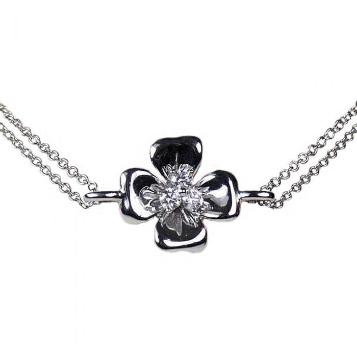 18ct White Gold Triple Diamond Four Leaf Clover Bracelet