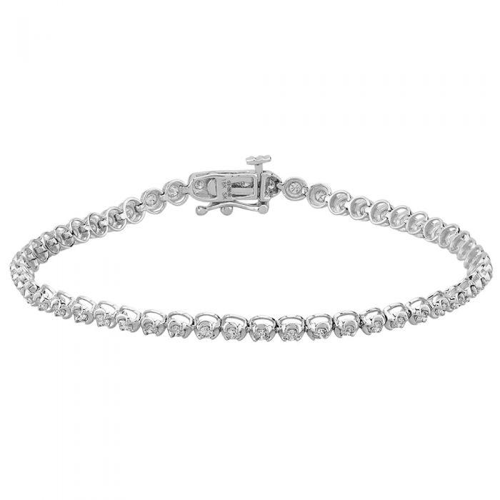 T H Baker 18ct White Gold 1.50ct Diamond Tennis Bracelet