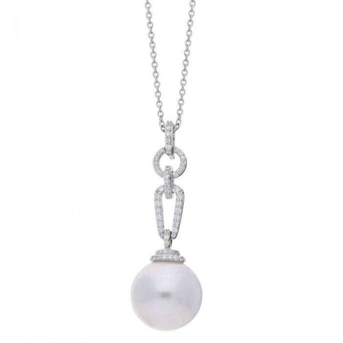 T H Baker 18ct White Gold 13mm South Sea Pearl and Diamond Pavé Pendant