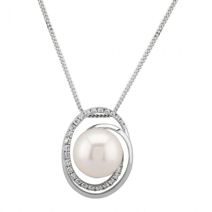 T H Baker 18ct White Gold South Sea Pearl Diamond Set Swirl Pendant