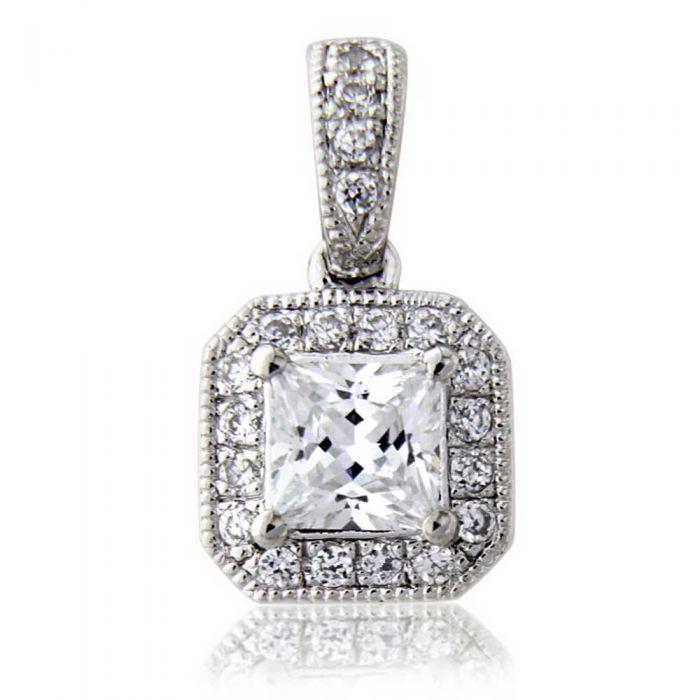 T H Baker 18ct White Gold Princess Cut 0.37ct Diamond Pendant