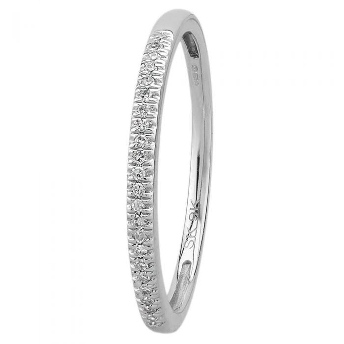 T H Baker 9ct White Gold 0.08ct Diamond Pavé Set Half Eternity Ring