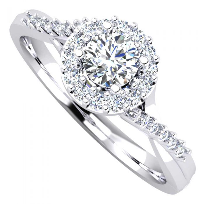 Platinum 0.43ct Diamond Cluster with Crossover Shoulders Ring