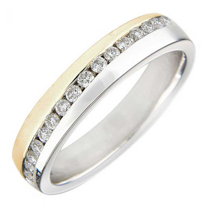 T H Baker 9ct Two Tone Gold 4mm Channel-set Diamond Wedding Ring