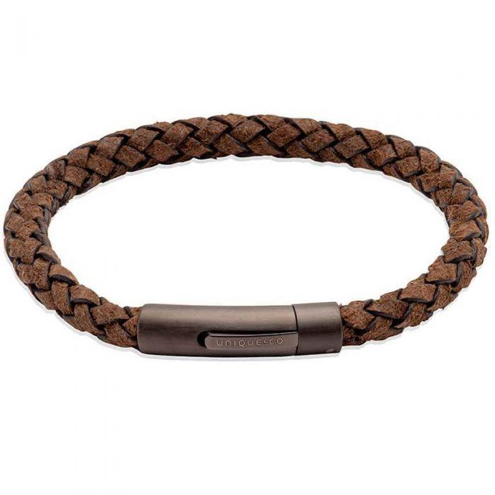 Unique Coconut Brown Leather & Gunmetal Steel Clasp 21cm Bracelet
