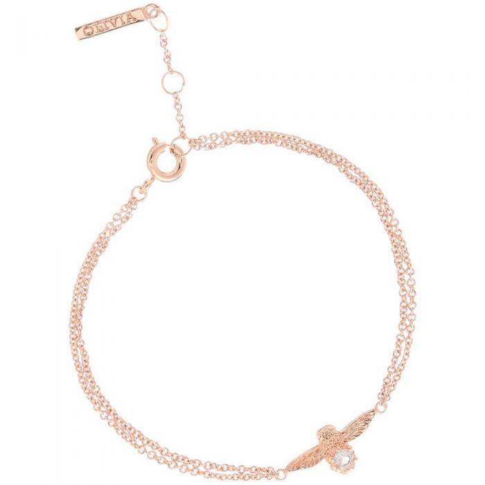 Olivia Burton Bejewelled Rose Gold Plated Quartz Bee Bracelet
