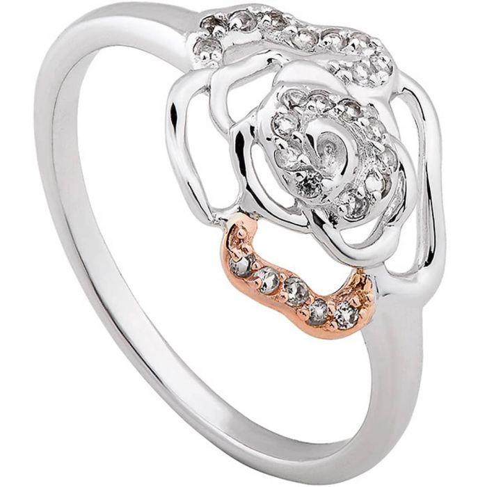 Clogau Silver 9ct Rose Gold Royal Roses Topaz Ring