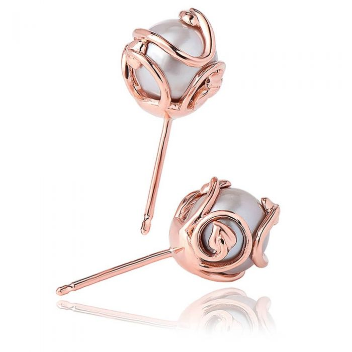 Clogau 9ct Rose Gold Tree Of Life Pearl Earrings