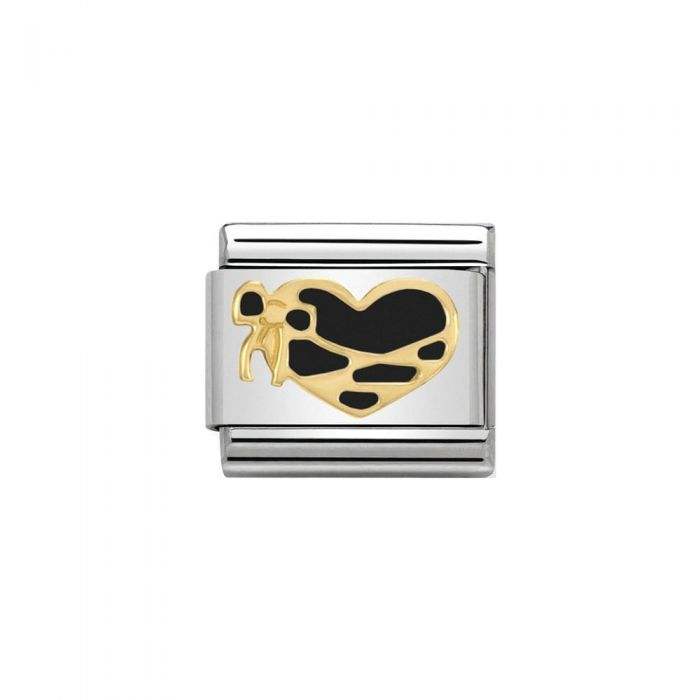 Nomination CLASSIC Gold & Black Enamel Heart with Ribbon Charm