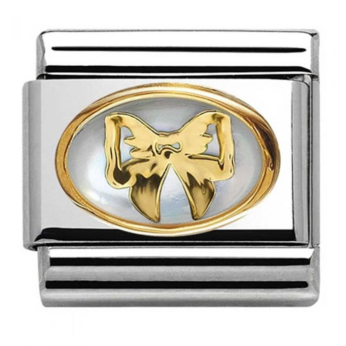 Nomination CLASSIC Gold Stone Double White Bow Charm
