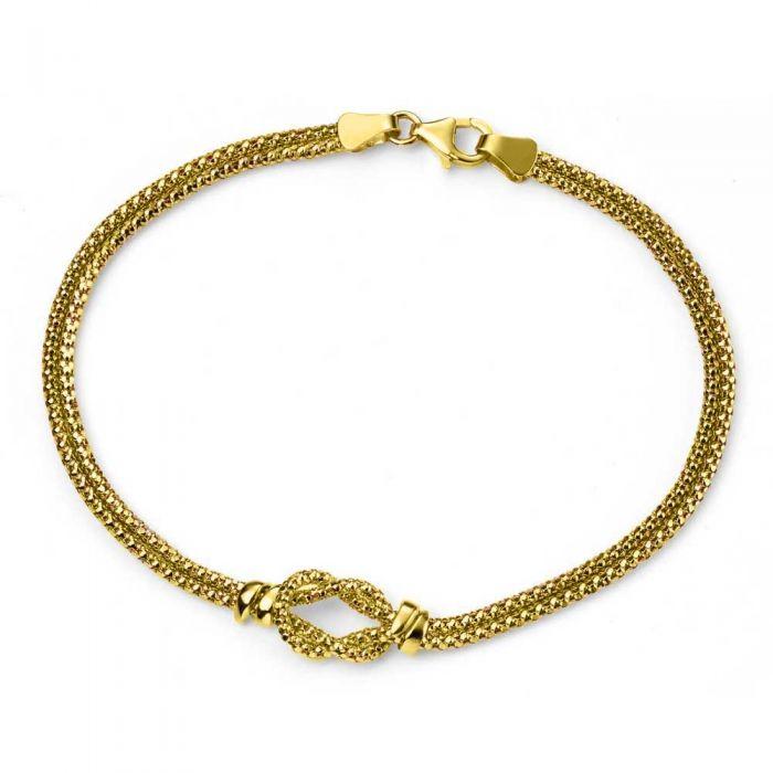T H Baker 9ct Gold Double Strand Knot Bracelet