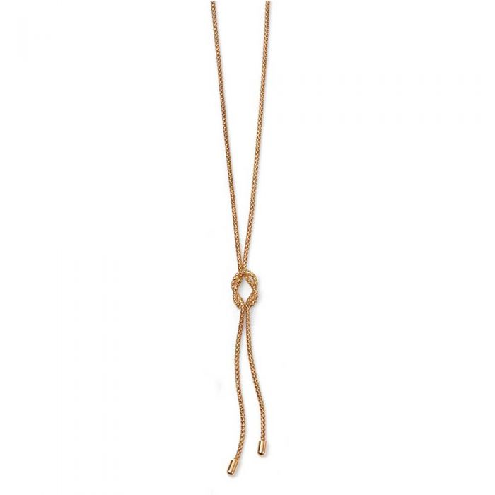 T H Baker 9ct Rose Gold Knot Lariat Necklace