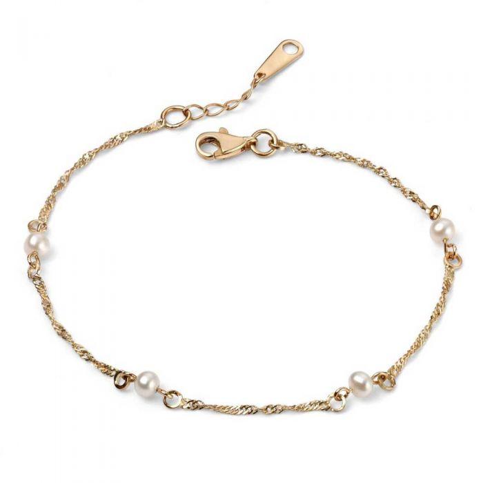T H Baker 9ct Gold Freshwater Pearl Chain Bracelet