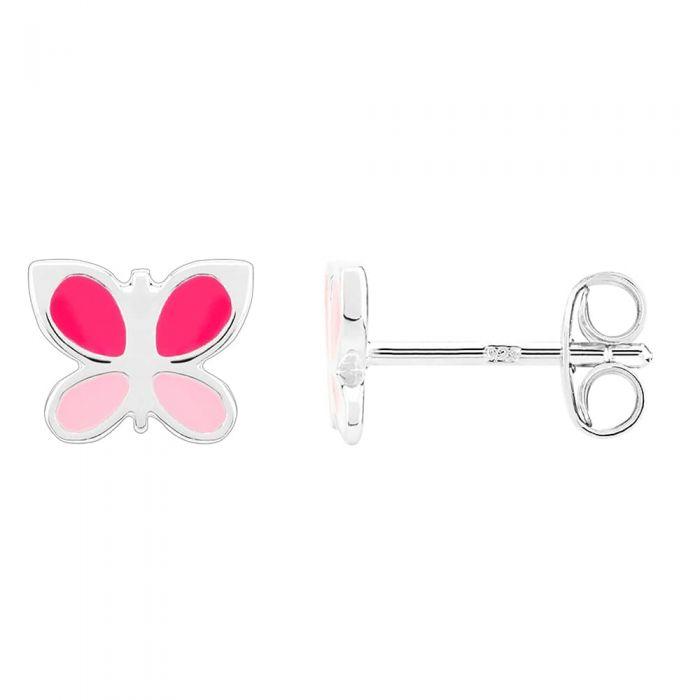 Fleur Kids Sterling Silver Pink Butterfly Stud Earrings