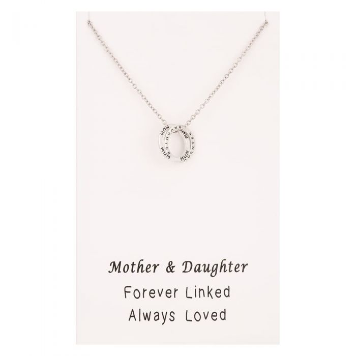 T H Baker Sentiments Mother and Daughter Interlinked Ring Pendant