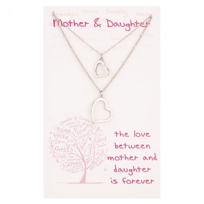 T H Baker Sentiments Mother and Daughter Matching Heart Pendants