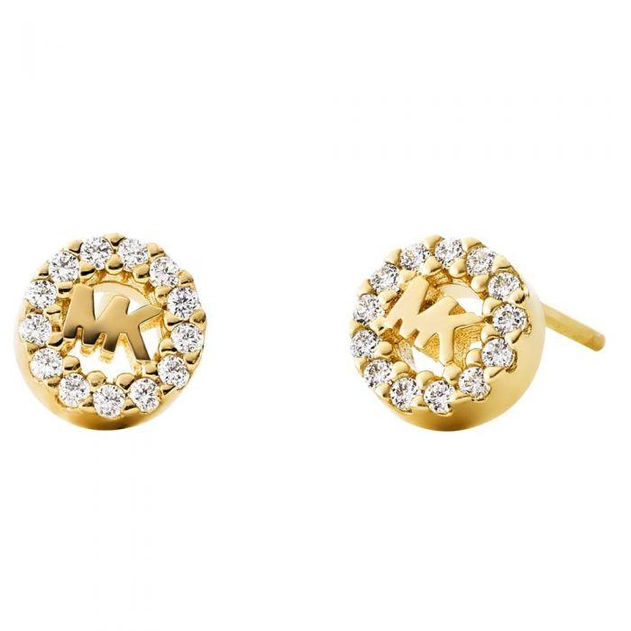 Michael Kors Custom Kors 14ct Gold Plated Pavé Logo Stud Earrings