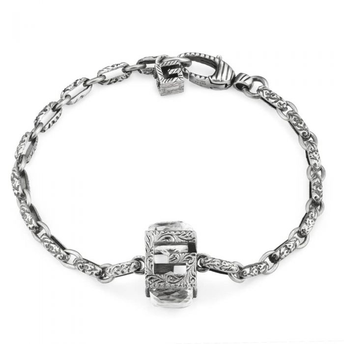Gucci G Cube Silver Synthetic Crystal Bracelet