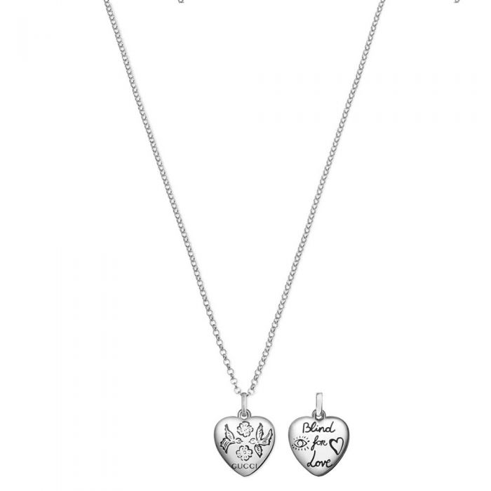 Gucci Blind 4 Love Silver Heart Pendant Necklace