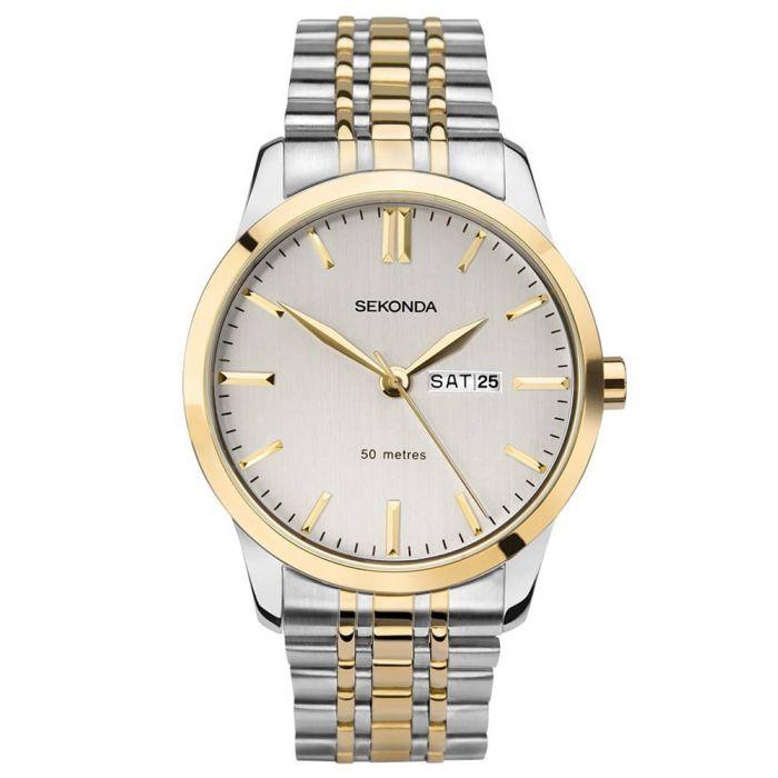 Sekonda Mens Classic White Dial Two Tone Bracelet Watch