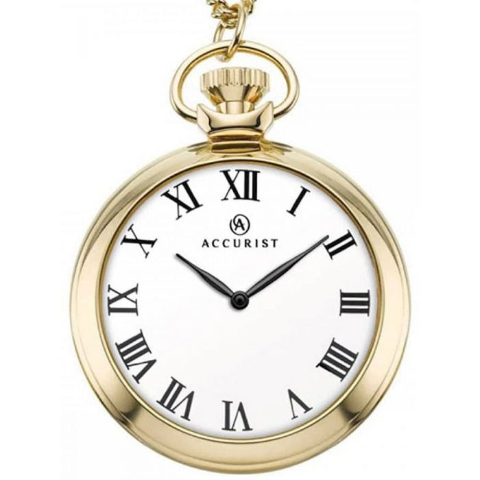 Accurist Mens Gold Plated White Dial Open Case Pocket Watch